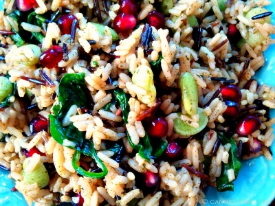 Christmas Rice - Wild Rice with fresh Spinach and Pomegranates