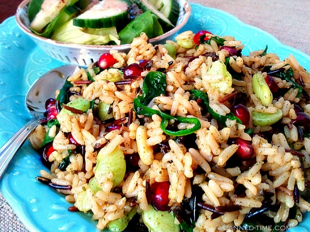 'Christmas Rice' Wild rice with fresh Spinach and Pomegranates