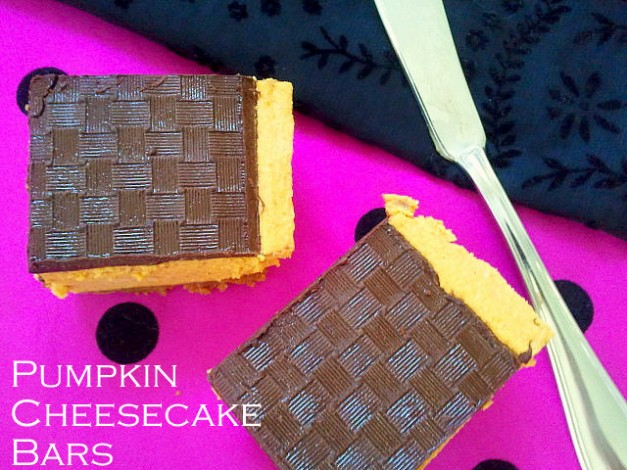Vegan Pumpkin Cheesecake Bars with Basket Weave Chocolate Topping