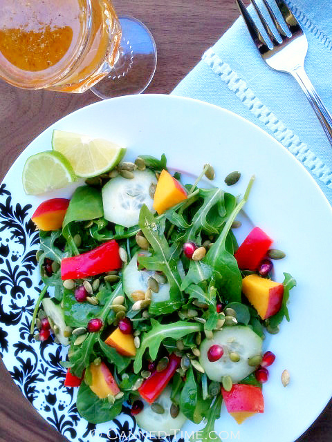 Spinach Mango & Pepitas Salad w/ Maple Sugar Lime Vinaigrette from Canned-Time.com